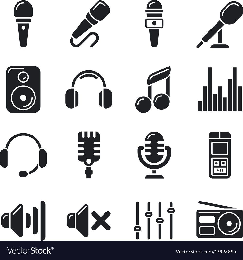 Studio microphones music icons