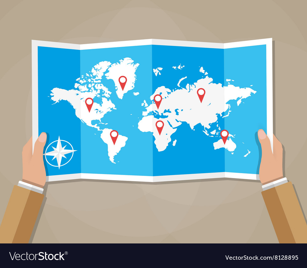 World Map On Hands.Travel World Map In Hands Royalty Free Vector Image
