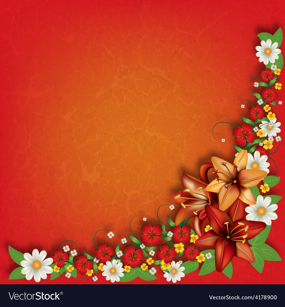 Abstract Red Grunge Floral Background With Spring