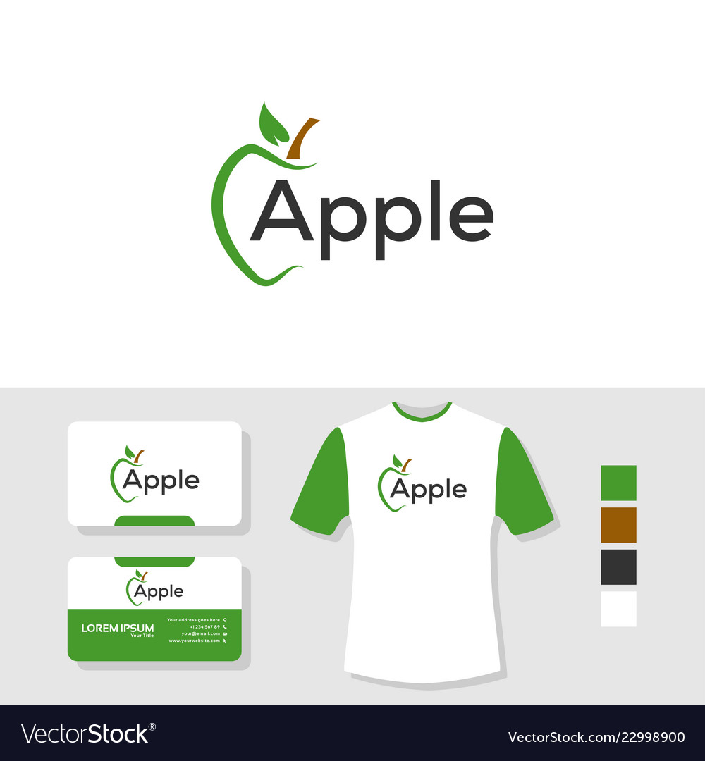 Apple logo design with business card and t shirt
