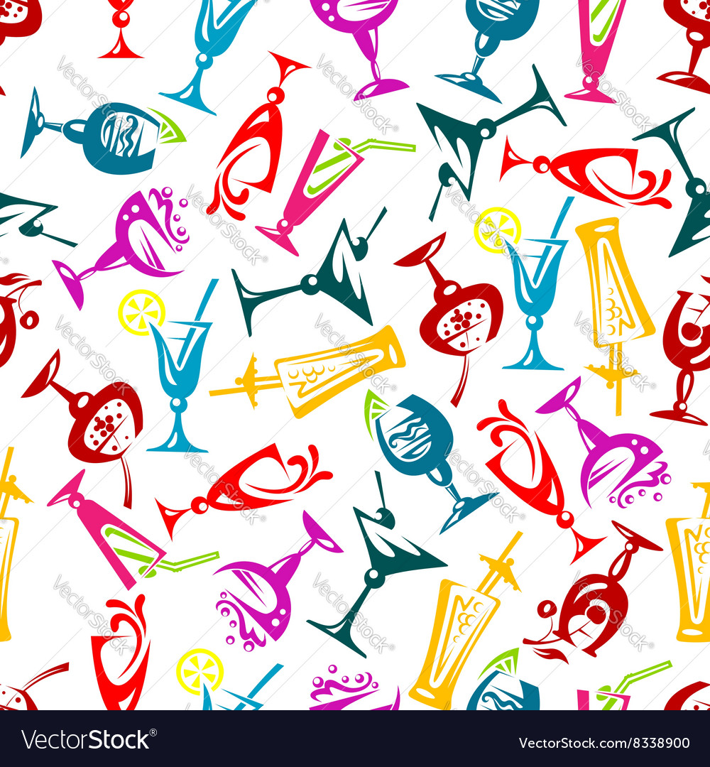 Bright colorful cocktails seamless pattern vector image