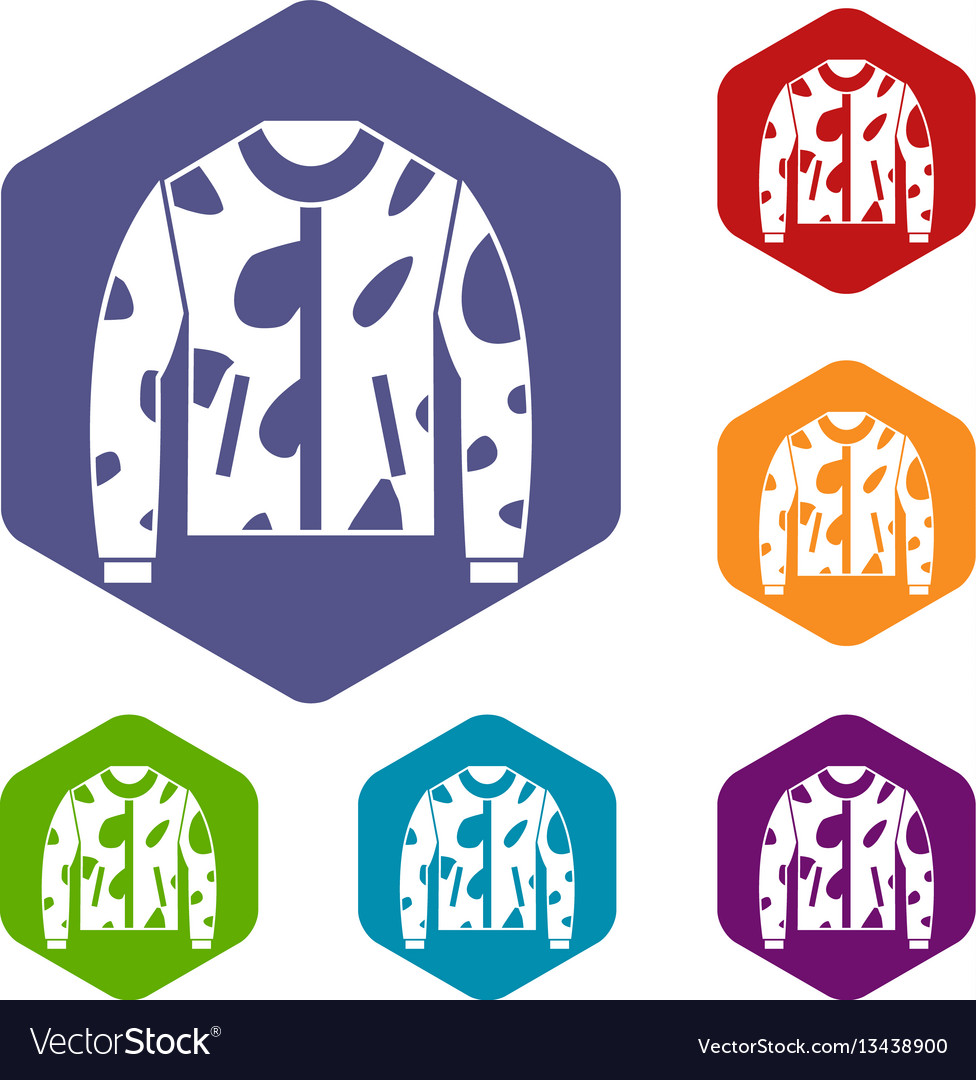 Camouflage jacket icons set vector image