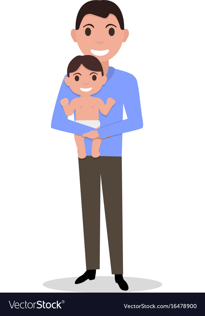 Cartoon father alone with a child