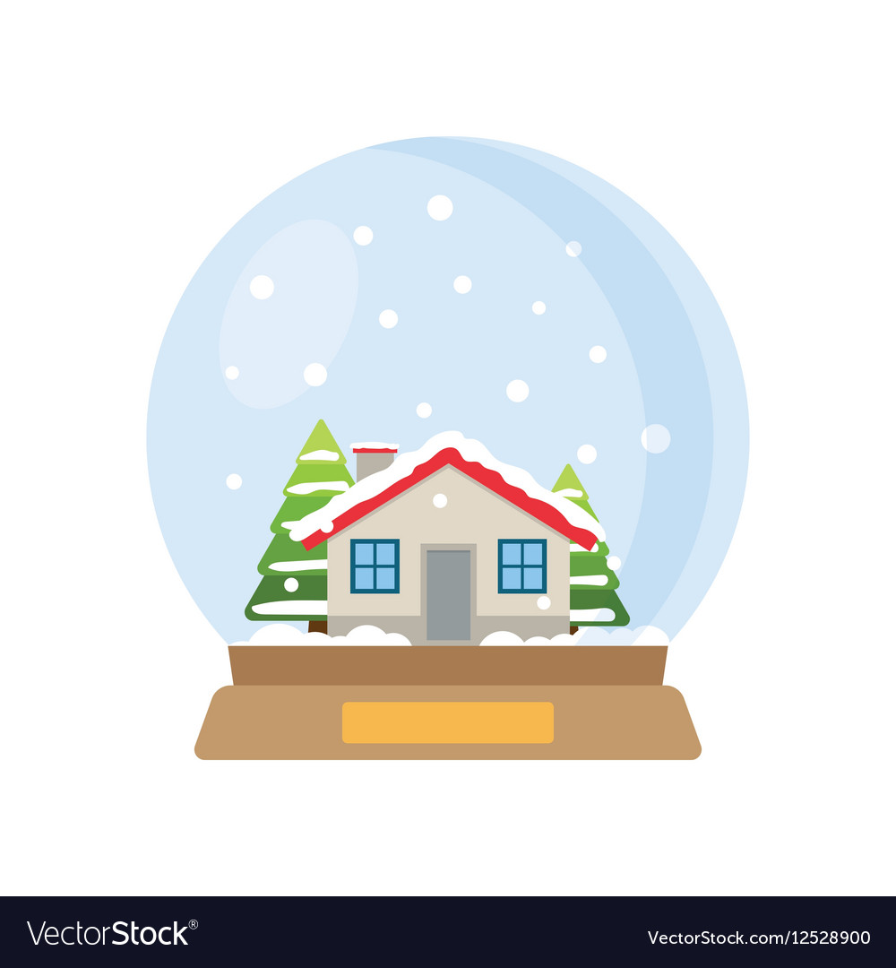 Christmas snow globe with house and trees inside