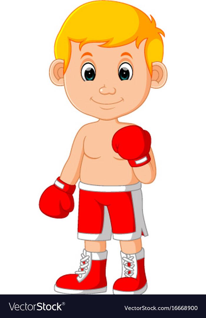 Cute boy boxing cartoon vector image