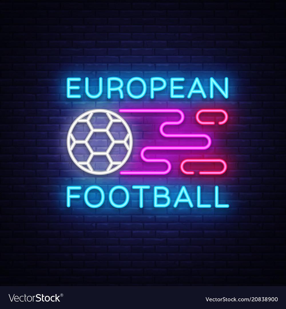 European football neon sign soccer logo