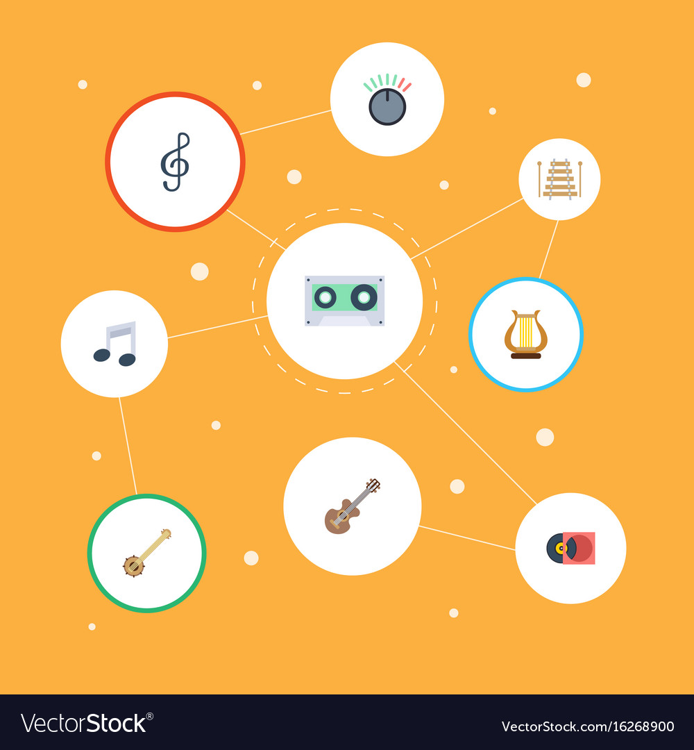 Flat icons musical instrument acoustic banjo and vector image