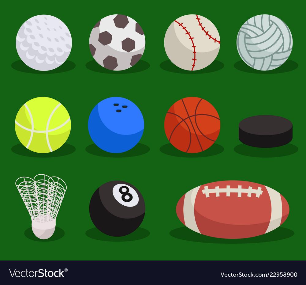 Flat sport ball set balls on green background