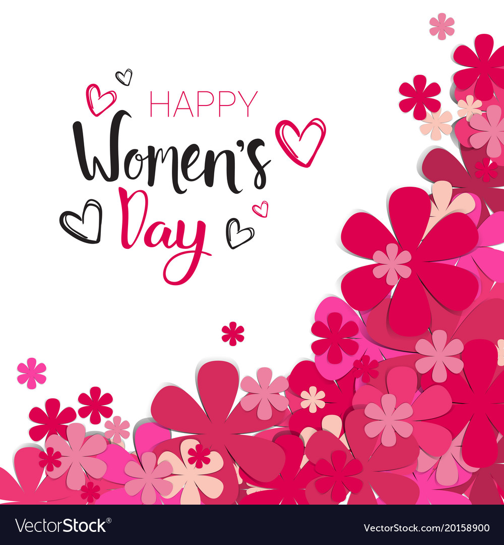 Happy Women Day Background With Pink Flowers And Vector Image