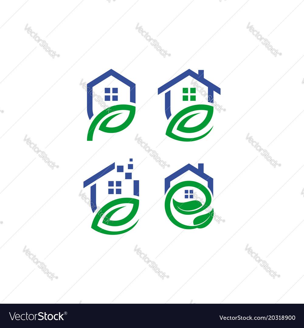 Home leaf logo set