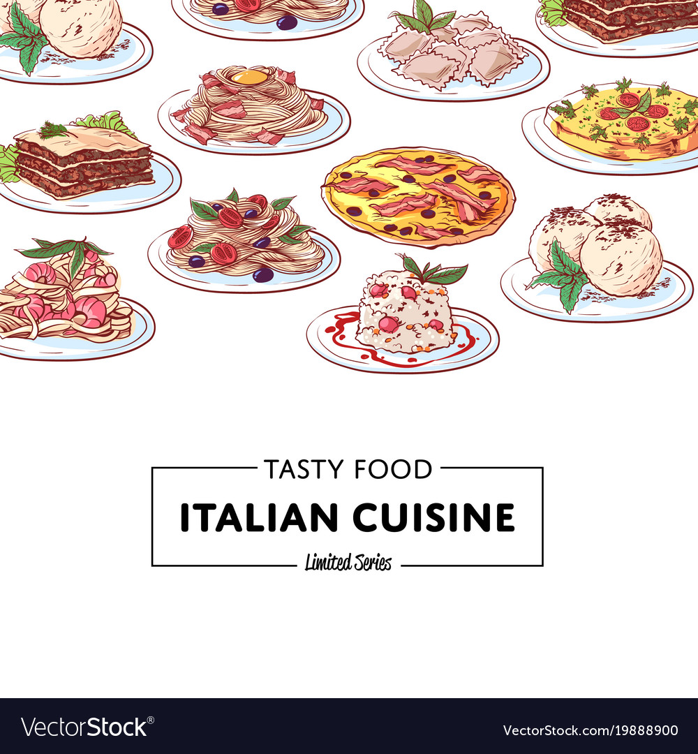 Italian national cuisine dishes poster vector