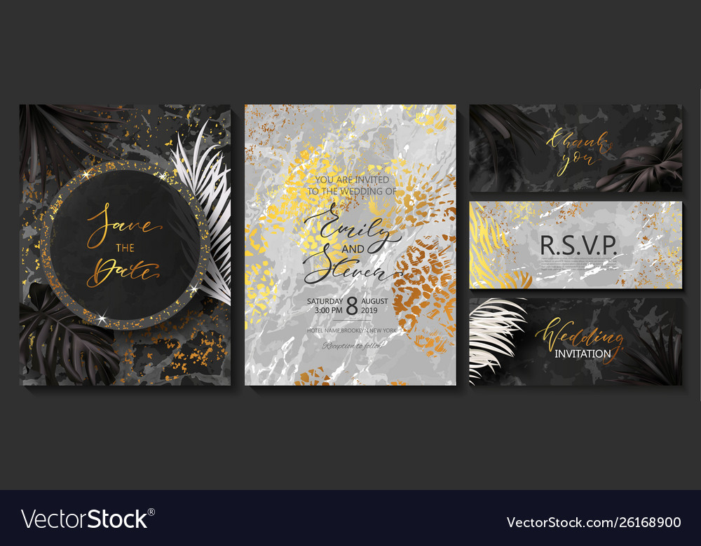 Luxury wedding invitation cards with marble golden