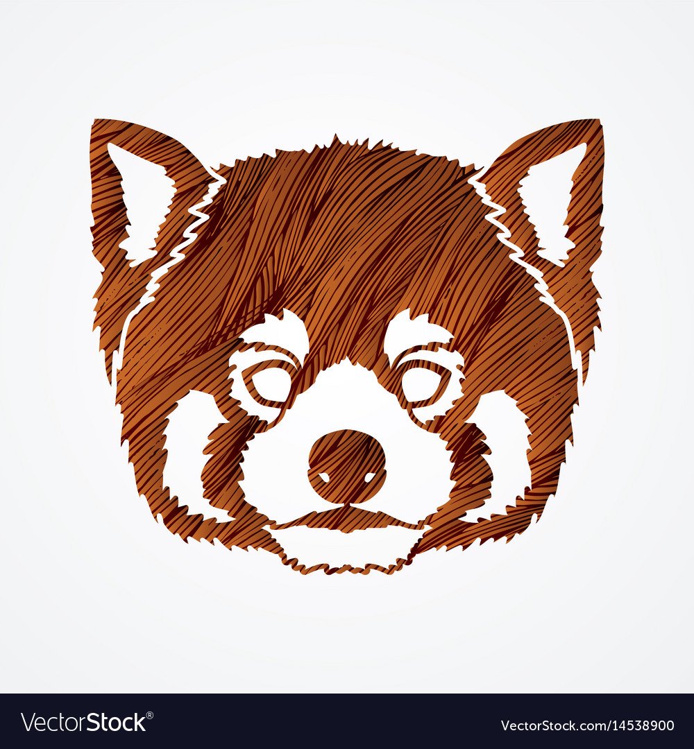 Red panda head cartoon bear face