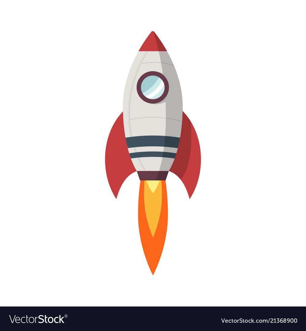 Rocket launch icon flat design