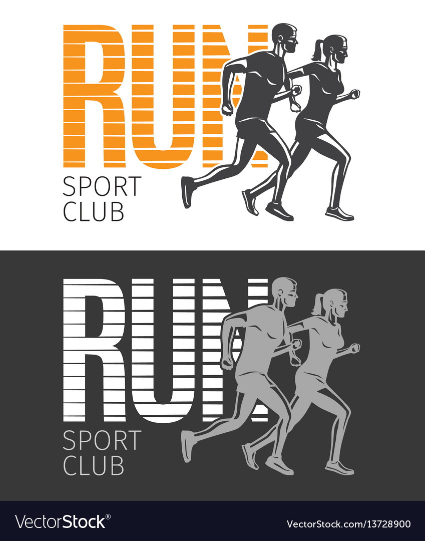 Run sport club two pictures with running people