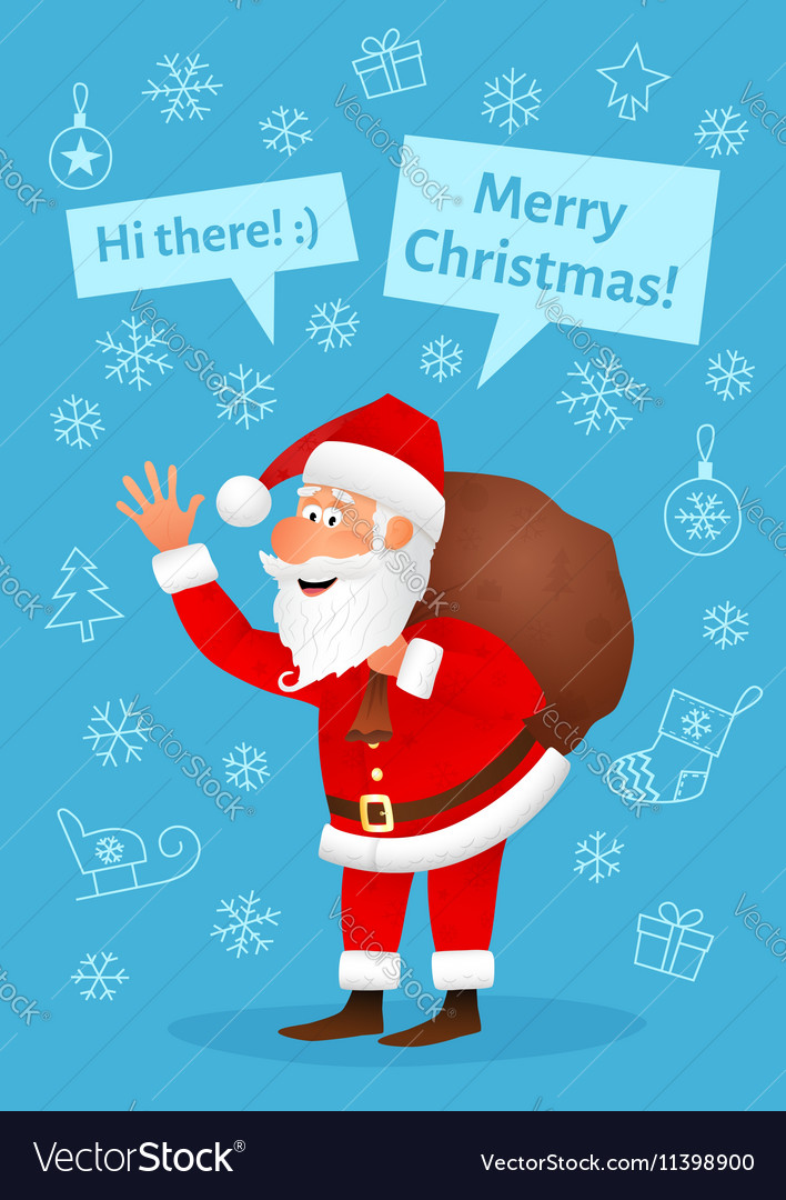 Santa Claus flat character isolated on blue vector image