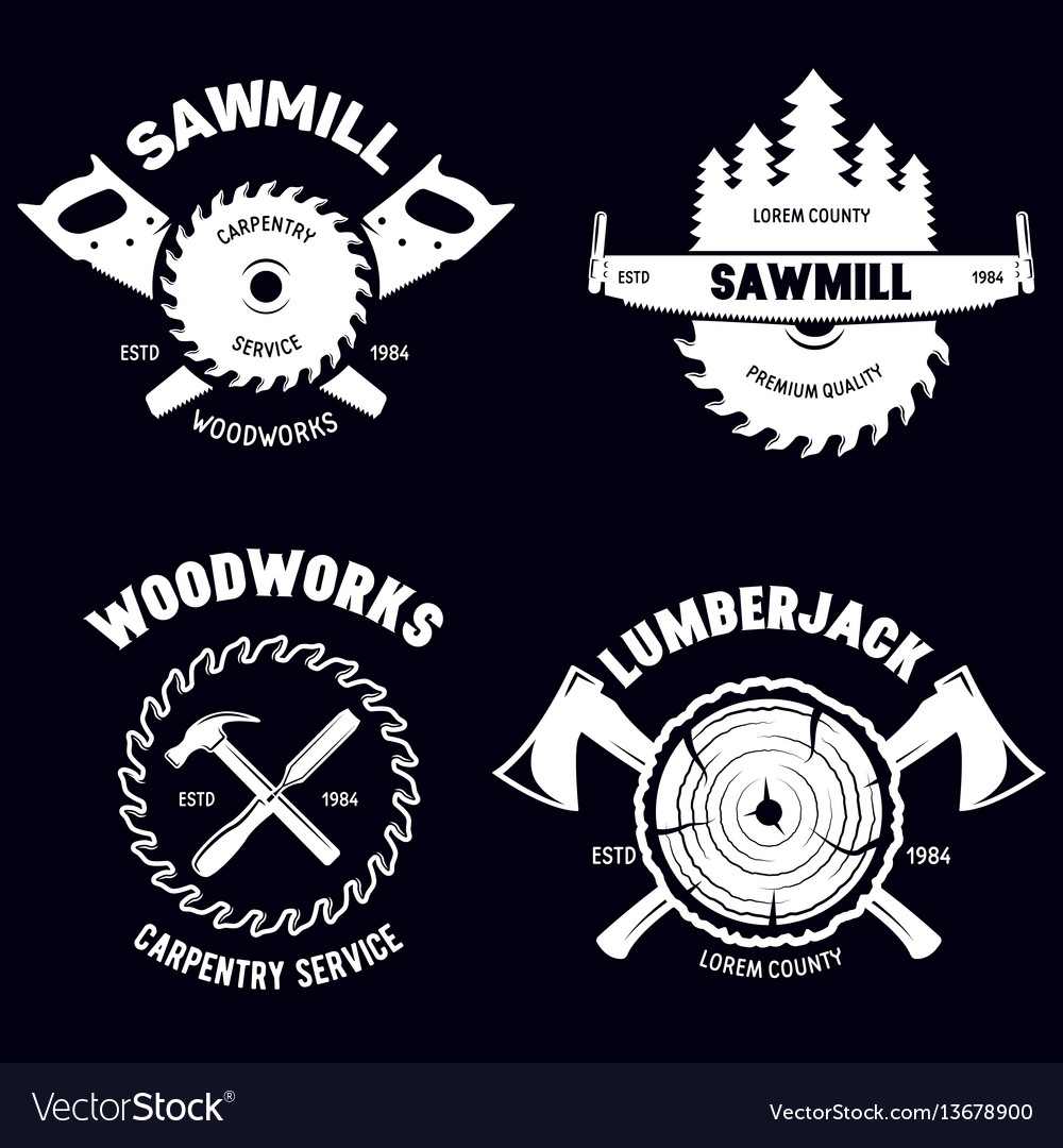 Set of isolated vintage lumberjack labels with