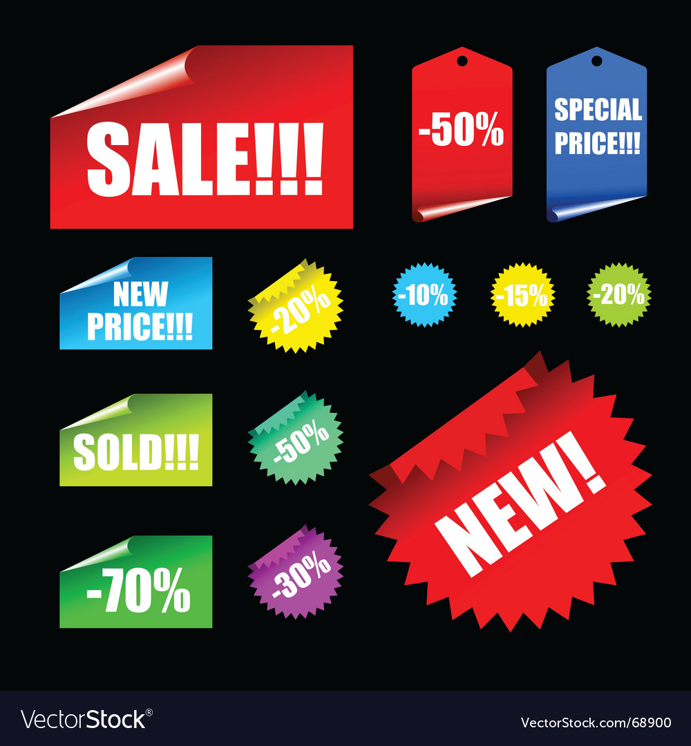 Tags and banner elements vector image