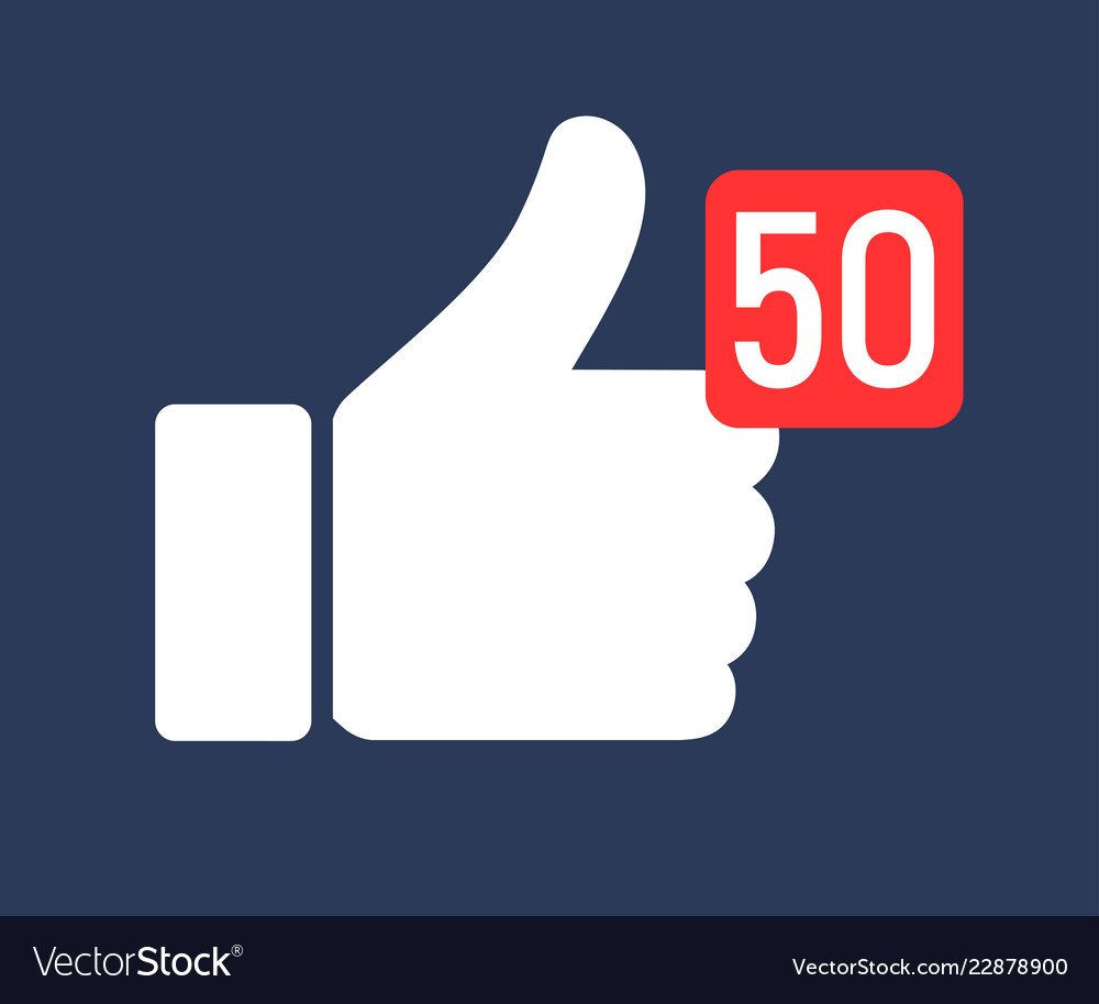 Thumbs up like icon with number symbol