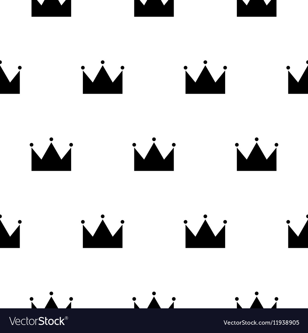 Black and white princess crown seamless pattern