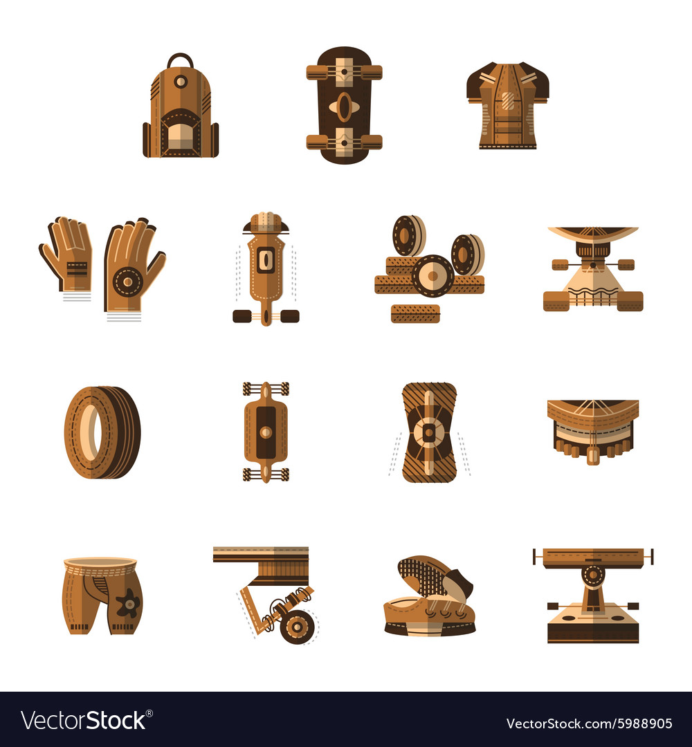 Brown flat icons for longboarder vector image