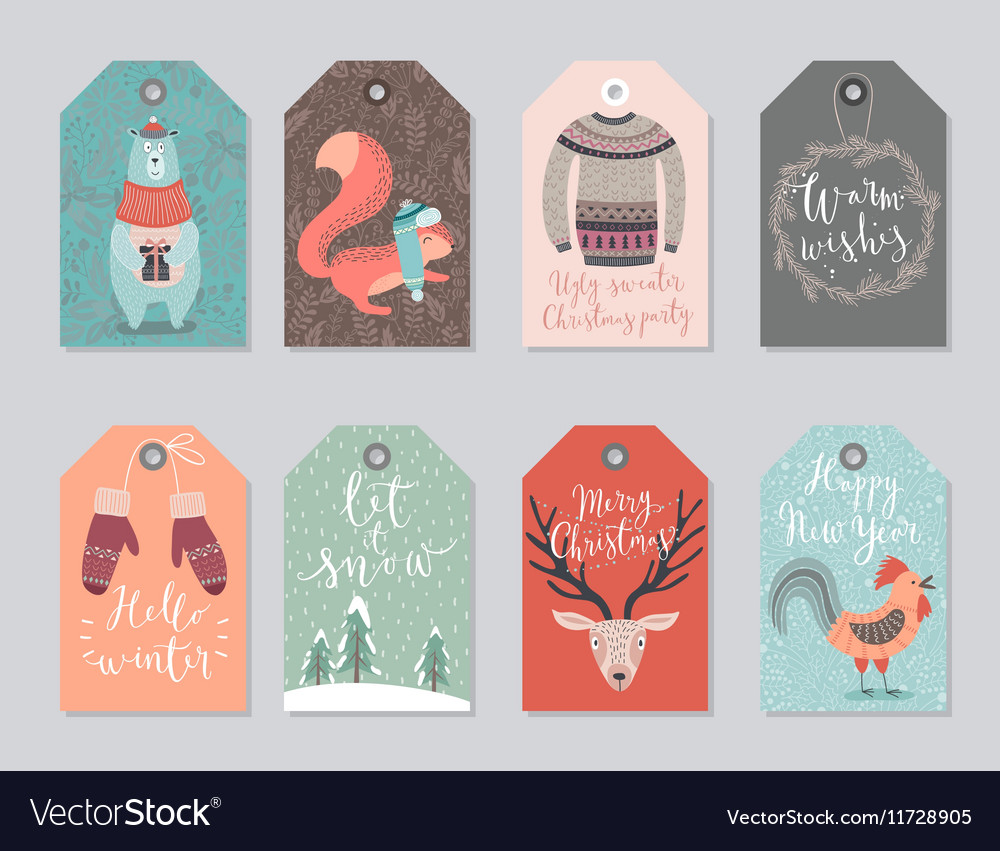Christmas tags set hand drawn style