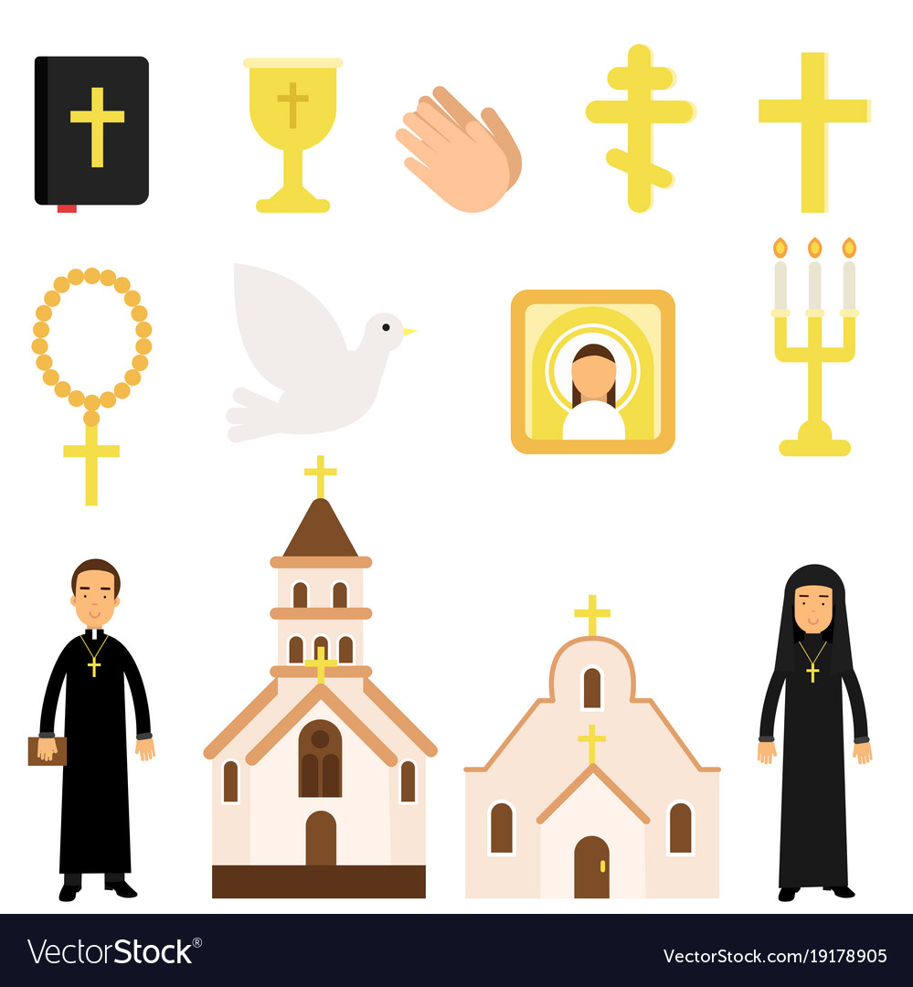 Collection of religious symbols and objects in
