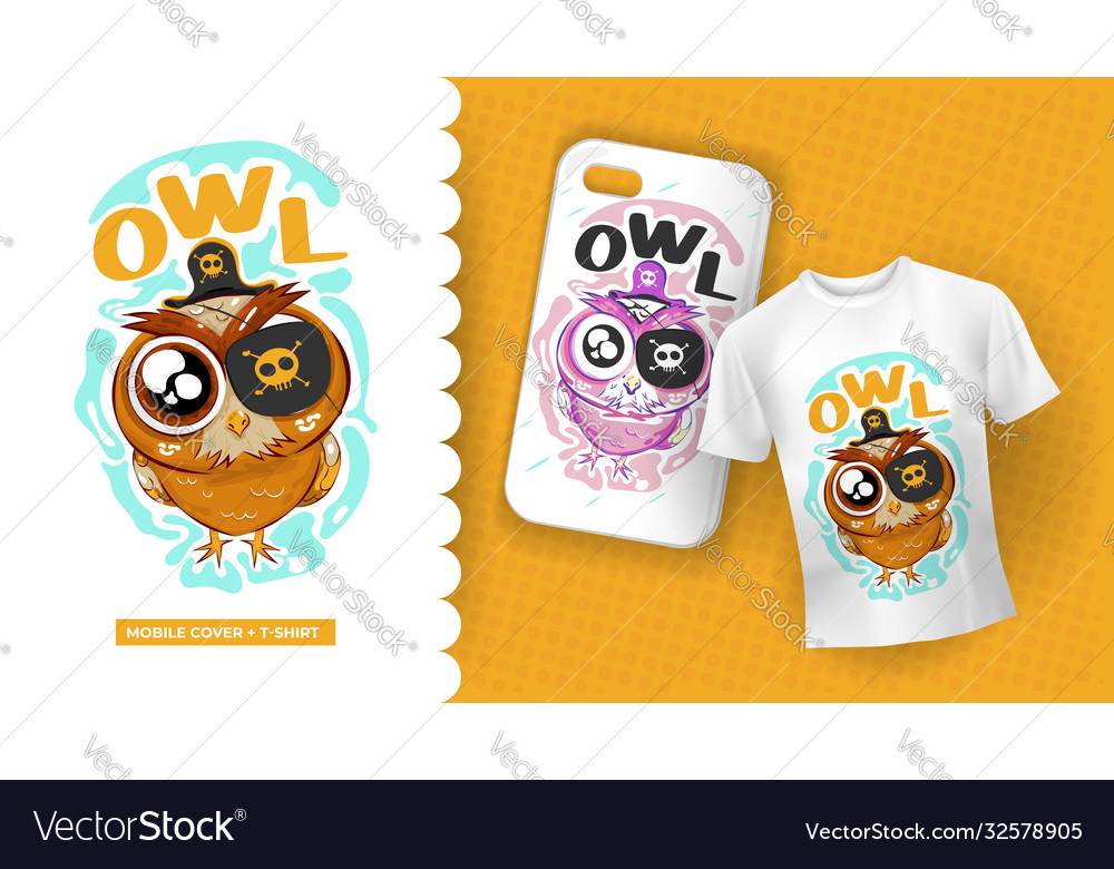 Cute Owl Drawing With Pirate Dress Royalty Free Vector Image