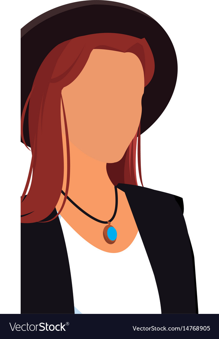 Fashionable woman no face hat design vector image