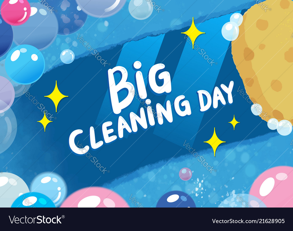 Hand drawn doodle big cleaning day colorful