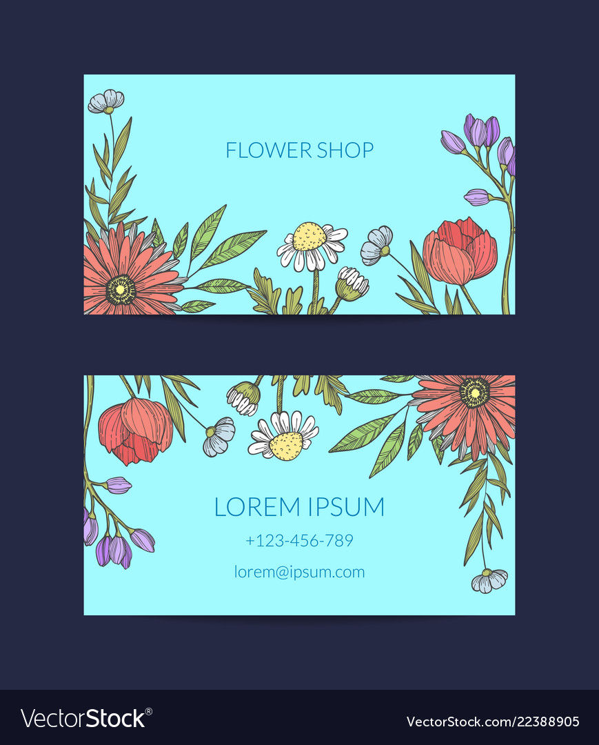 Hand drawn flowers business card template