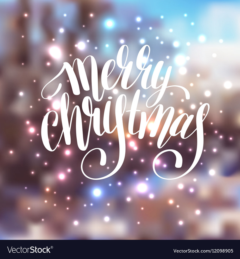 Hand lettering written merry christmas holiday