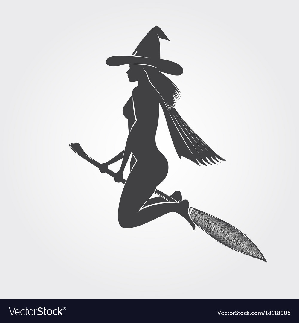 happy halloween witch on a broom silhouette vector image