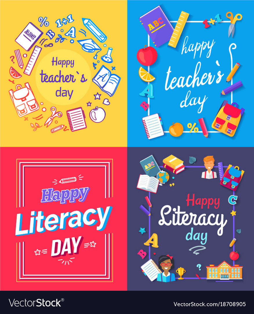 happy teachers day posters royalty free vector image