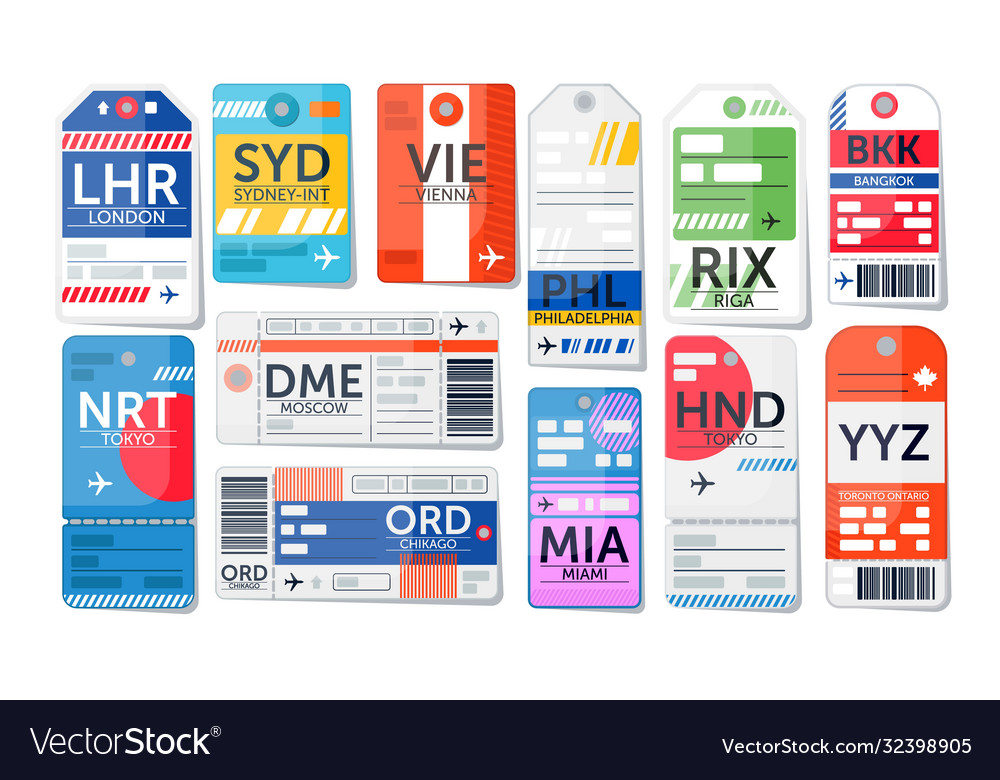 Luggage tag set isolated airport baggage ticket