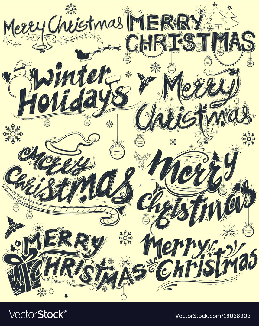 Merry Christmas Writing Clipart.Merry Christmas And Winter Holiday Lettering