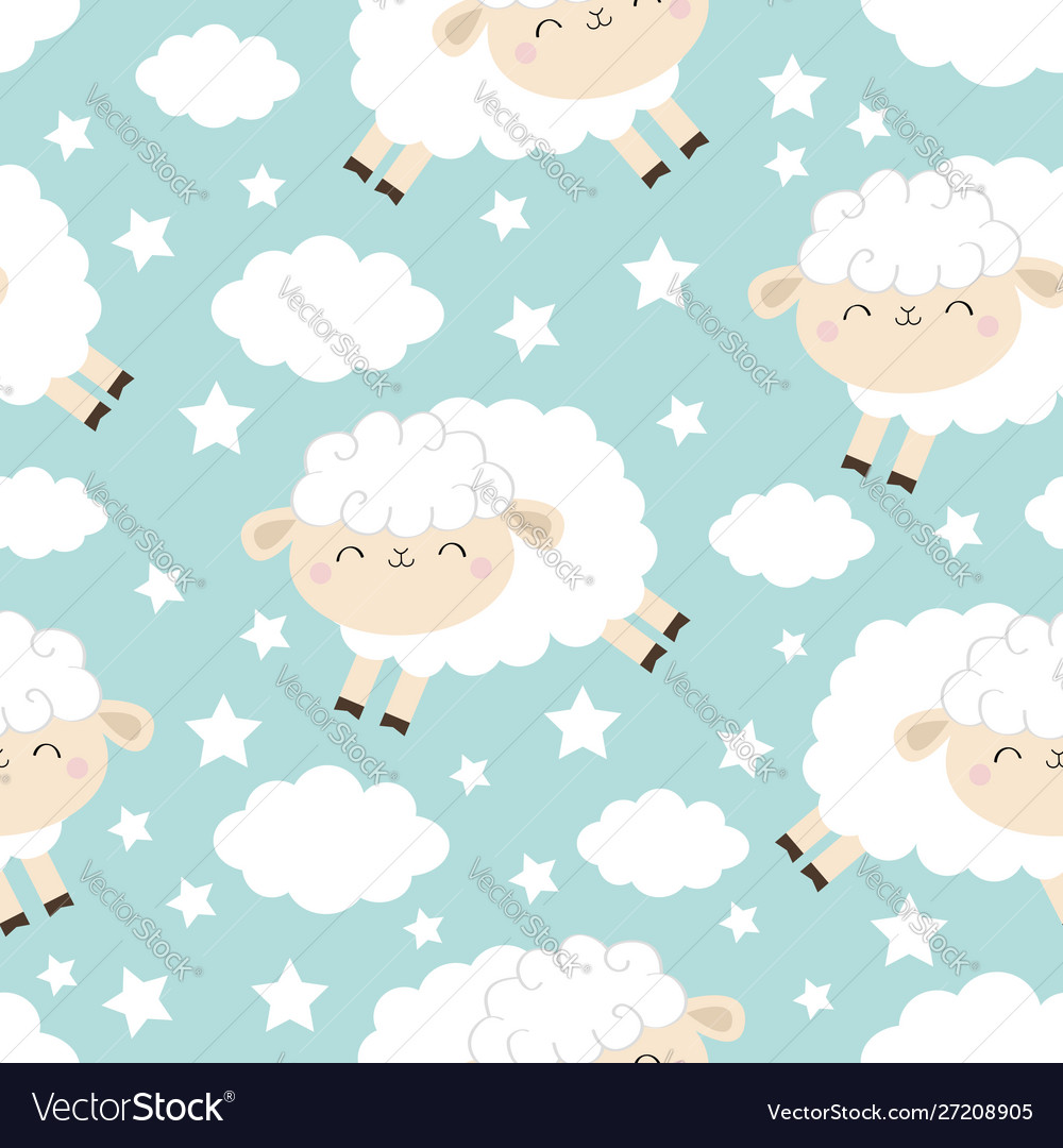 Seamless pattern jumping sheep cloud star in the