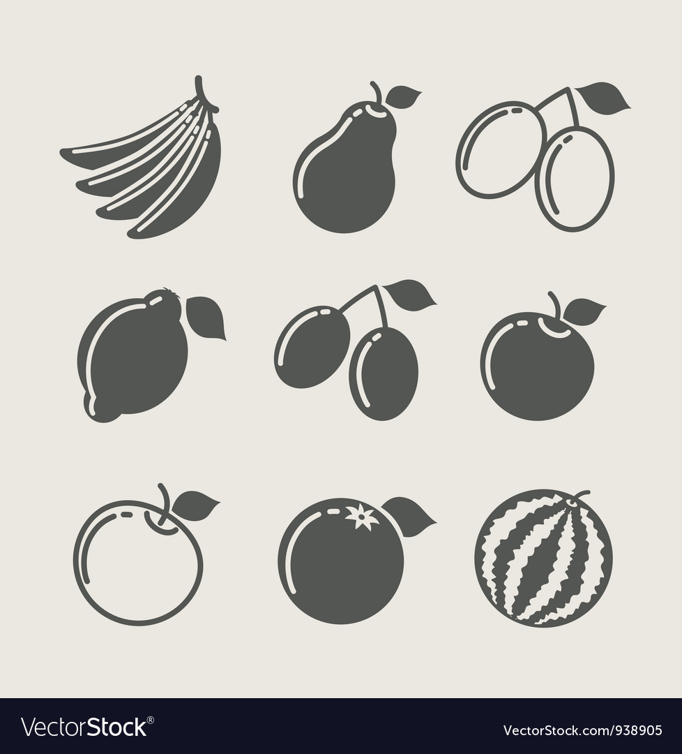 Set of fruit food icon vector image