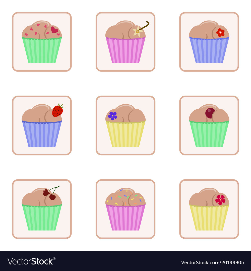 Set of icons with images of cupcakes colorful
