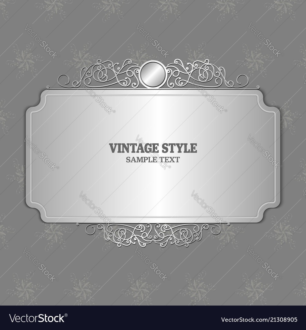 Silver color vintage decorations elements and vector image