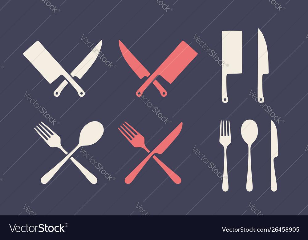Vintage kitchen set set meat cutting knive