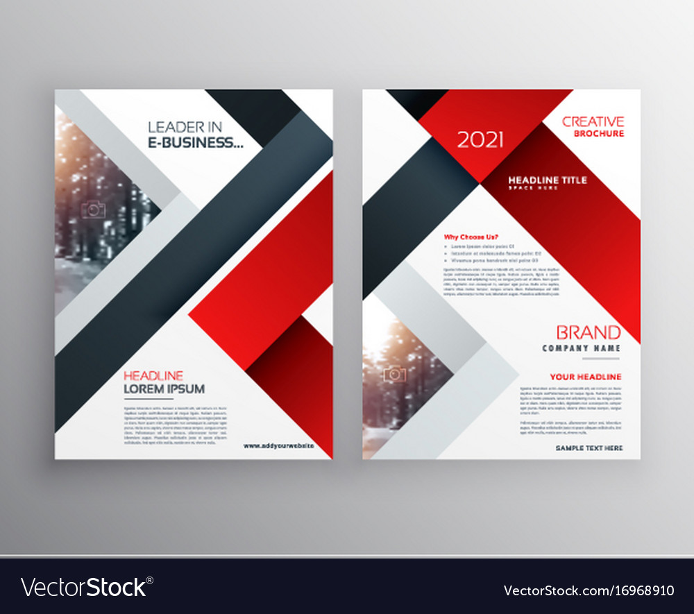 Abstract red black geometric brochure design vector image