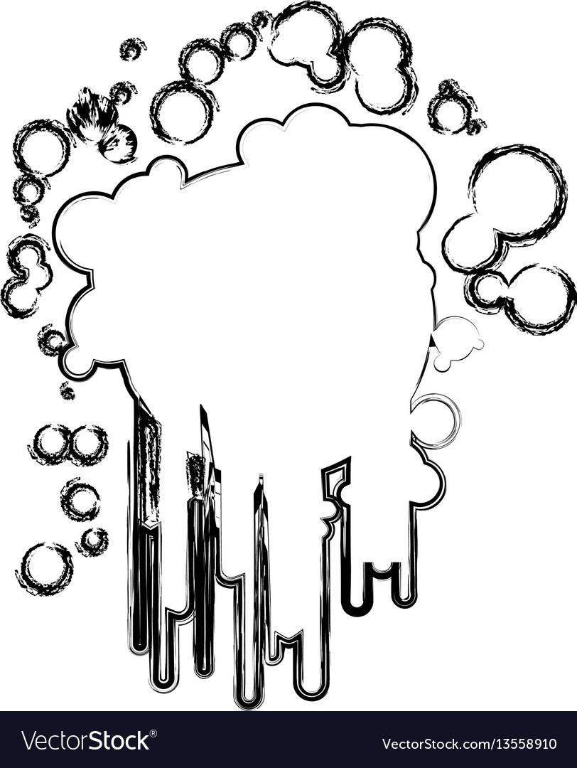 Blurred sketch silhouette ink splash paint icon
