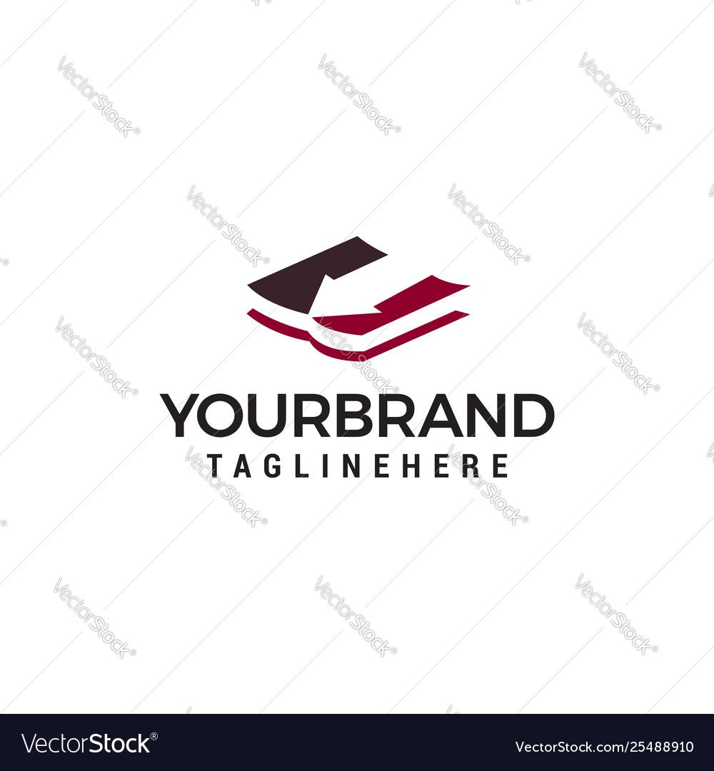 Book arrow logo design concept template
