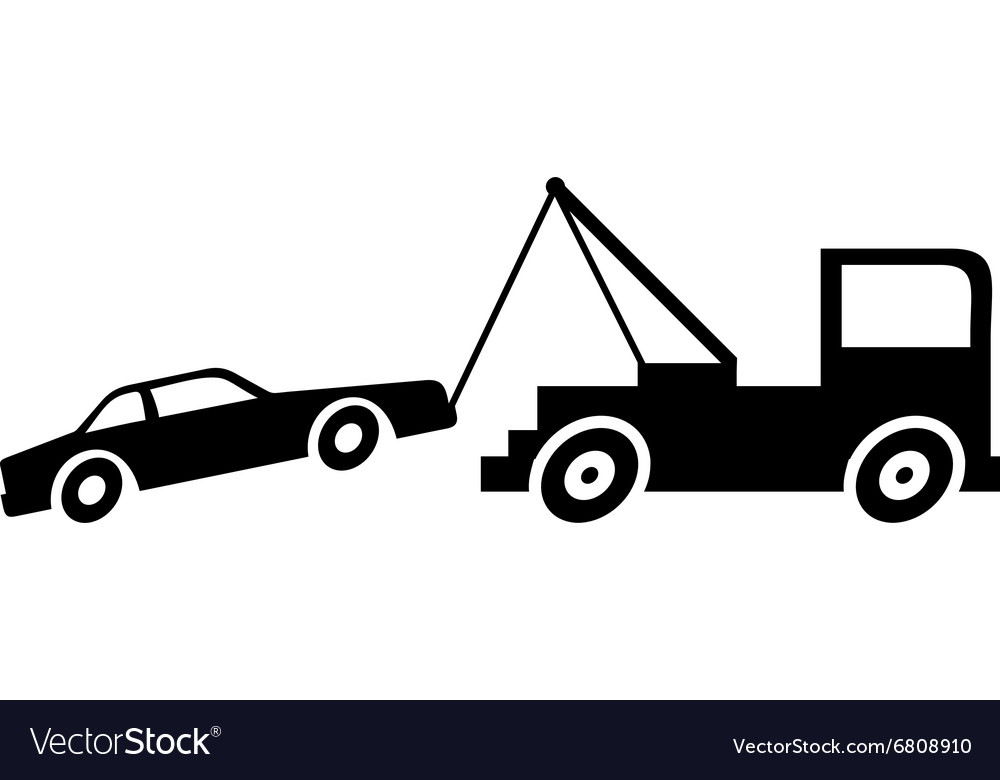 Broken Down Car With Crane