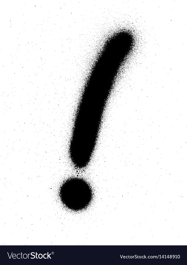 Graffiti exclamation mark in black over white