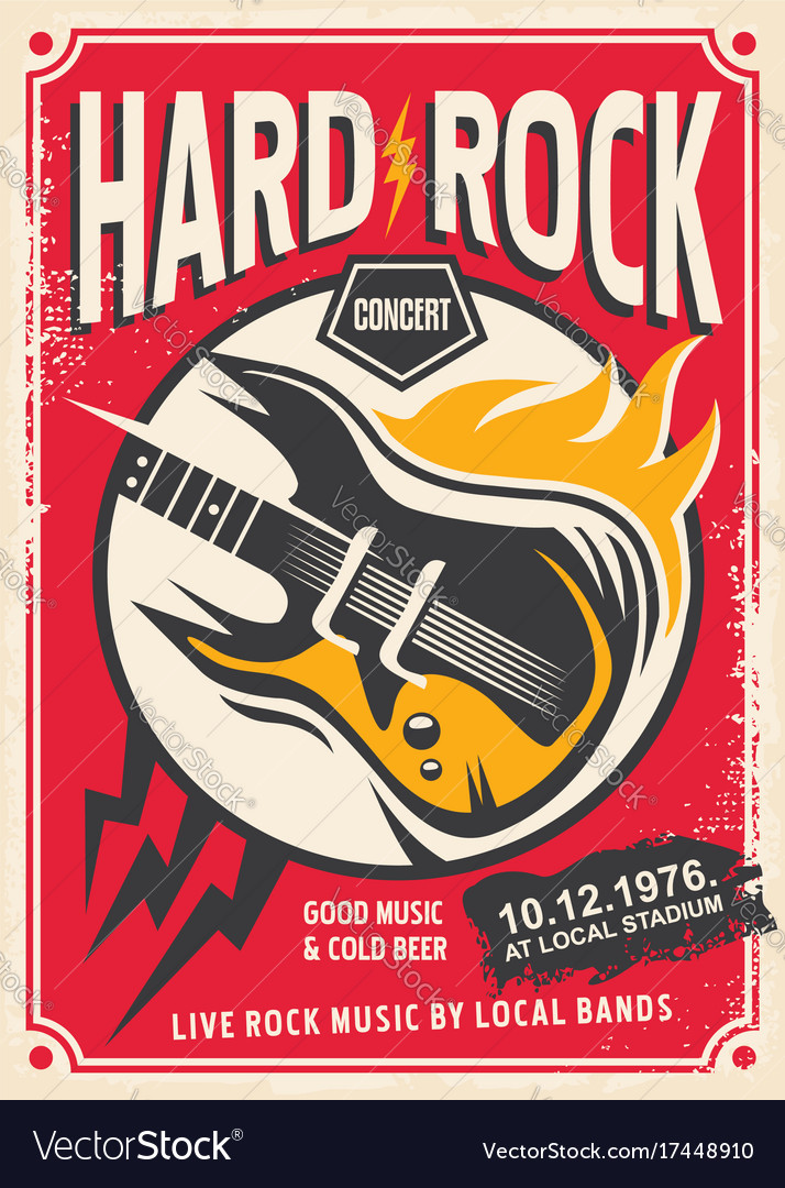 hard rock event poster template royalty free vector image