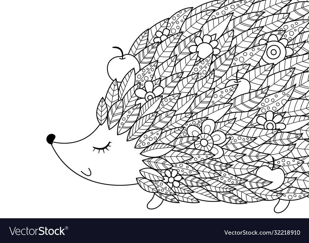 - Hedgehog Doodle Coloring Book Page Antistress Vector Image