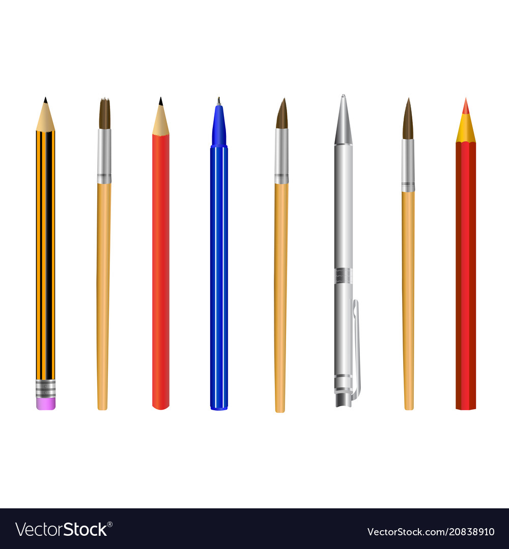 Pencil pen brush isolated on white background