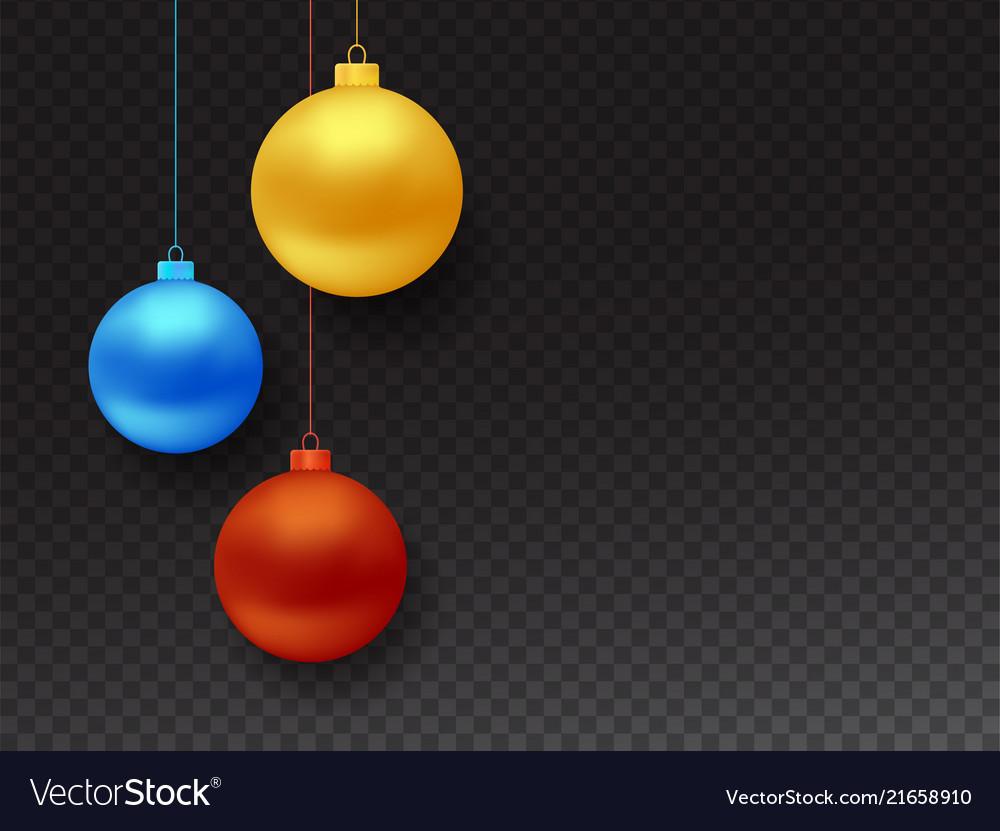 Set of realistic hanging christmas balls